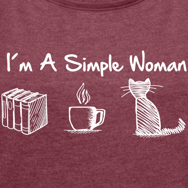 simple woman cat books - Frauen T-Shirt mit gerollten Ärmeln