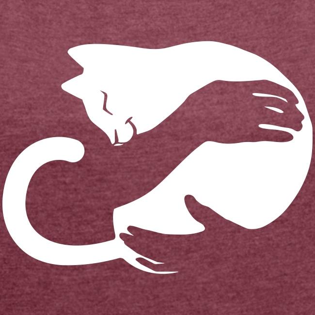 Vorschau: cat hug - Frauen T-Shirt mit gerollten Ärmeln