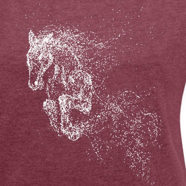 Vorschau: jumping horse white - Frauen T-Shirt mit gerollten Ärmeln