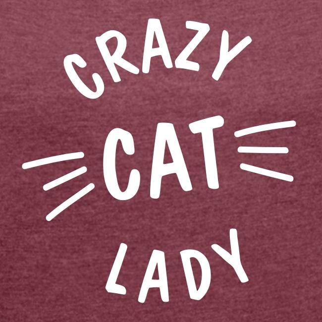Vorschau: Crazy Cat Lady meow - Frauen T-Shirt mit gerollten Ärmeln