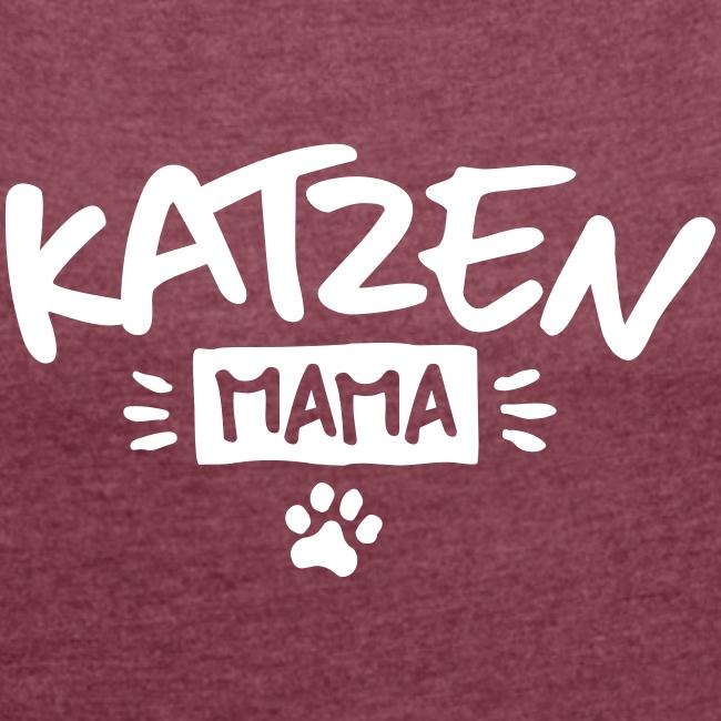 Vorschau: Katzen Mama - Frauen T-Shirt mit gerollten Ärmeln