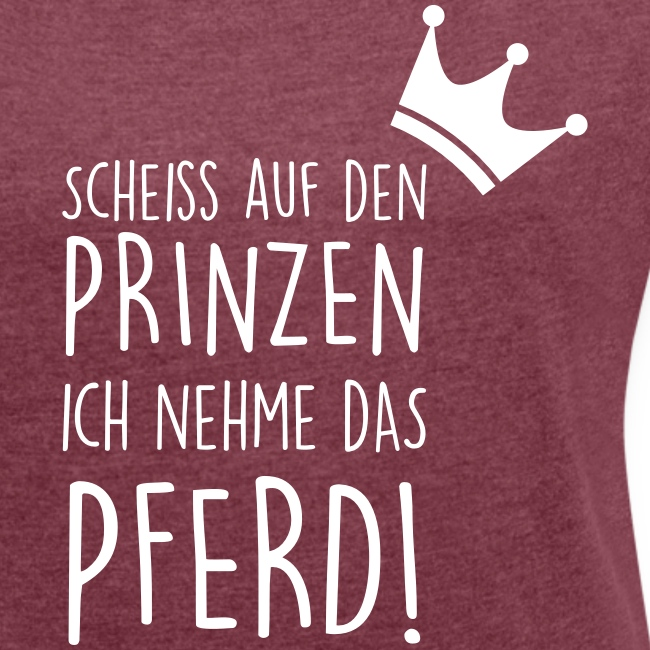 Vorschau: Prinz Pferd - Frauen T-Shirt mit gerollten Ärmeln
