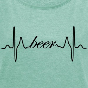 Beer heartbeat ECG - Women's T-shirt with rolled up sleeves