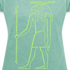 Ancient Egyptian God - Women's T-shirt with rolled up sleeves