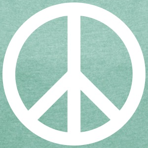 Peace Sign Filled White - Frauen T-Shirt mit gerollten Ärmeln