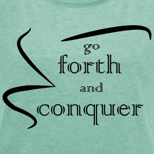Forth and Conquer negro - Camiseta con manga enrollada mujer
