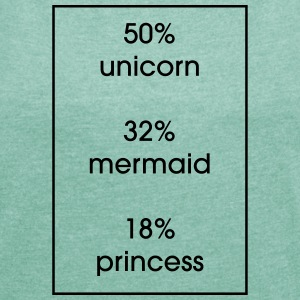 50% Unicorn 32% 18% Mermaid Princess - Women's T-shirt with rolled up sleeves