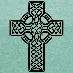 Celtic Cross - T-skjorte med rulleermer for kvinner