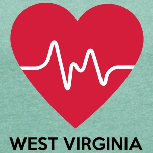 Heart West Virginia - Women's T-shirt with rolled up sleeves
