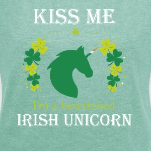 Irish unicorn - Irish Unicorn - T-skjorte med rulleermer for kvinner