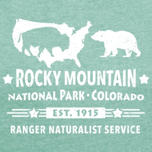 Bison Grizzly Rocky Mountain National Park Bergen - Vrouwen T-shirt met opgerolde mouwen