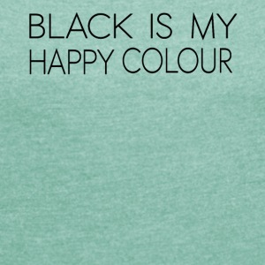 black_is_my_happy_color - T-skjorte med rulleermer for kvinner