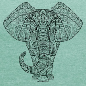 Elephant in black - Women's T-shirt with rolled up sleeves