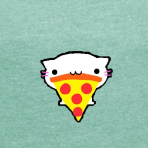 cat Pizza - Women's T-shirt with rolled up sleeves
