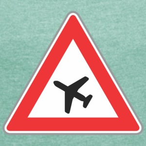 Road Sign airplane triangle - Women's T-shirt with rolled up sleeves