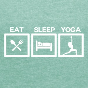 Eat Sleep Yoga - Cycle - T-skjorte med rulleermer for kvinner