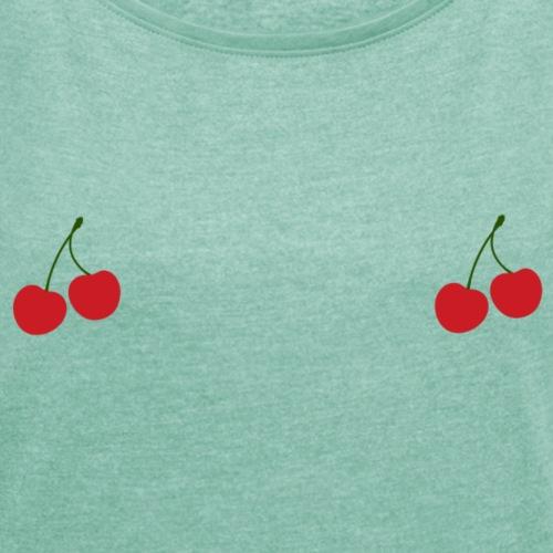 Cherry - T-shirt à manches retroussées Femme