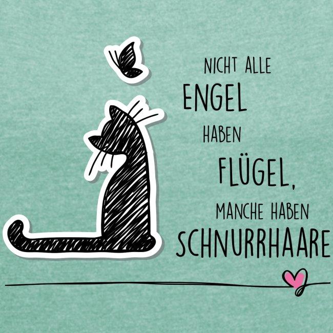 Vorschau: CAT ANGEL - Frauen T-Shirt mit gerollten Ärmeln