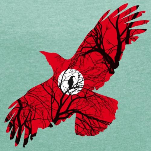 Corbeau Rouge - T-shirt à manches retroussées Femme