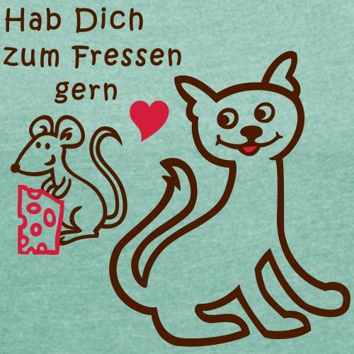 Katze und Maus wollen sich lieb haben - Frauen T-Shirt mit gerollten Ärmeln