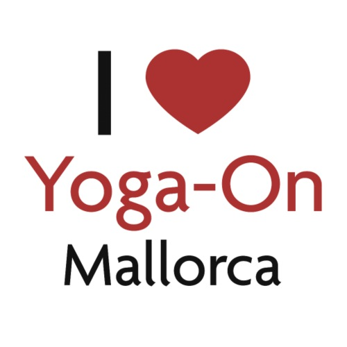 I Love Yoga-On Mallorca - Frauen T-Shirt mit gerollten Ärmeln
