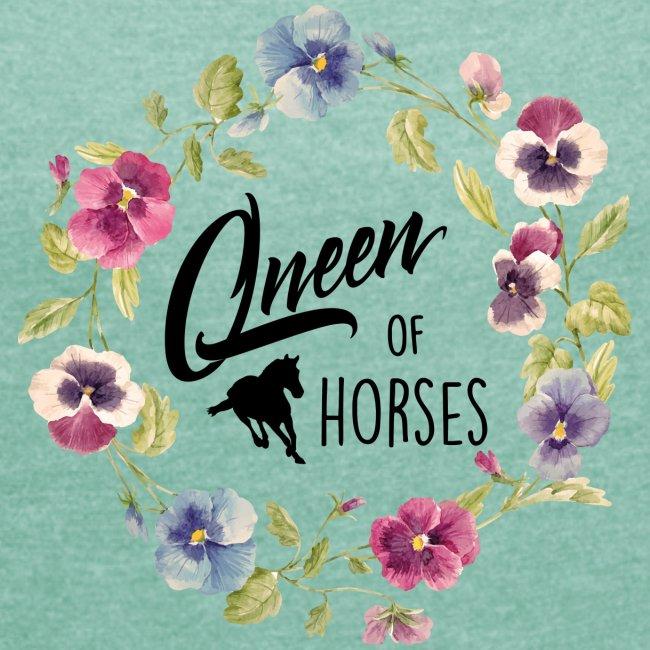 Vorschau: queen of horses - Frauen T-Shirt mit gerollten Ärmeln