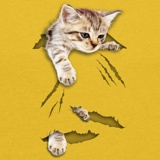 Vorschau: cat tear - Frauen T-Shirt mit gerollten Ärmeln