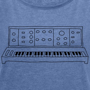 analog synthesizer - Women's T-shirt with rolled up sleeves