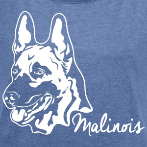 MALINOIS PORTRAIT - Women's T-shirt with rolled up sleeves