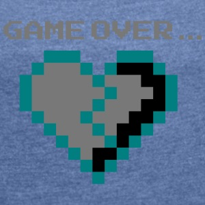 Game Over. Broken Pixel Heart lovelorn - Women's T-shirt with rolled up sleeves