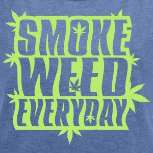 SMOKE_WEED_EVERYDAY - T-skjorte med rulleermer for kvinner
