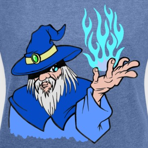 Willpower Wizard Blue/Light Blue Flame - No Text - Vrouwen T-shirt met opgerolde mouwen