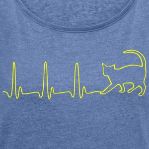 ECG HEART LINE CAT yellow - Women's T-shirt with rolled up sleeves