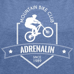 Mountion Bike Club - Frauen T-Shirt mit gerollten Ärmeln