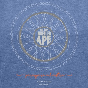 The Two Wheeled Ape Knobbly Biker T-shirt - Women's T-shirt with rolled up sleeves