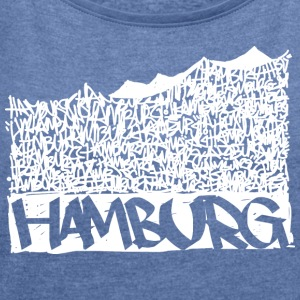 Hamburg Music Hall - White - Frauen T-Shirt mit gerollten Ärmeln