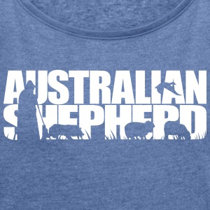 AUSTRALIAN SHEPHERD WORKING DOG - Women's T-shirt with rolled up sleeves