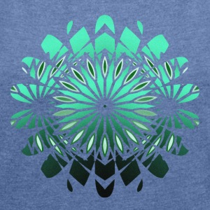 abstract green flower - Women's T-shirt with rolled up sleeves