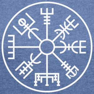 Vegvísir (large) - Women's T-shirt with rolled up sleeves