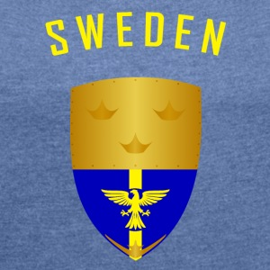 SWEDEN CROWNS SHIELD - Women's T-shirt with rolled up sleeves