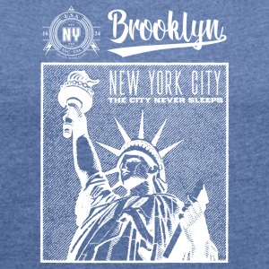 New York · Brooklyn - T-skjorte med rulleermer for kvinner