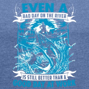 Fishing T-Shirt - Women's T-shirt with rolled up sleeves