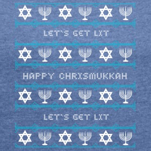chrismukkah jewish Christmas light star jewish - Women's T-shirt with rolled up sleeves
