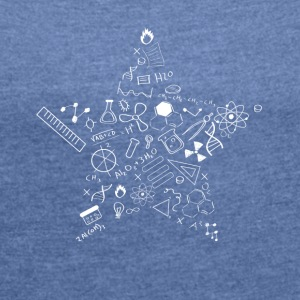 nerd star pi Physics Math Symbols Icon fu - Women's T-shirt with rolled up sleeves