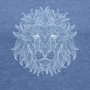 Lion white lion king outline mandala pattern head - Women's T-shirt with rolled up sleeves