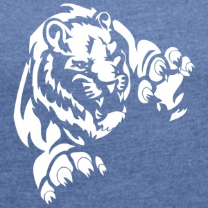 flying lion white - Women's T-shirt with rolled up sleeves