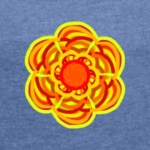 flower mandala colorful colorful flower - Women's T-shirt with rolled up sleeves