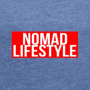 nomad lifestyle red - Women's T-shirt with rolled up sleeves