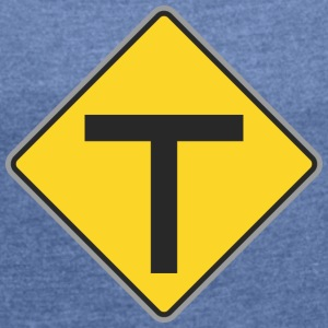 Road Sign T yellow - Women's T-shirt with rolled up sleeves