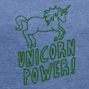 Unicorn - Power! - T-skjorte med rulleermer for kvinner